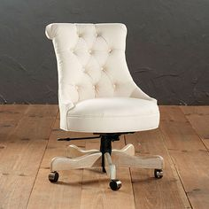 Available in several fabric colors and patterns, the Ballard Designs Elle Tufted Desk Chair has a vintage, glamorous look that would instantly dress up a desk space. Upholstered Desk Chair, Desk Chairs, Office Chairs, Swivel Chair, White Office, Glass Cabinet Doors, Trendy Home, Take A Seat, Ballard Designs
