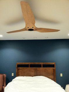 Haiku ceiling fan in Caramel Bamboo. Residence of Ricke W. #bigassfans #haiku #ceilingfan #bedroom #minimalist #bamboo