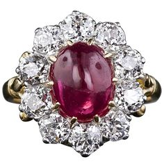 Victorian 'No Heat' Burmese Ruby and  Diamond Cluster Ring | From a unique collection of vintage more rings at https://www.1stdibs.com/jewelry/rings/more-rings/