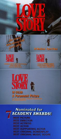 Love Story (1970) trailer typography