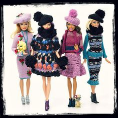 Hand knitted clothing for our Barbie dolls made by Mom. A mohair coat... Money was tight in those days, so we got hand crafted items. (Barbie Gets The London Look by young fashion designers/marthafied.com)