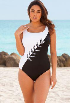 Longitude White Embroidery Plus Size Swimsuit