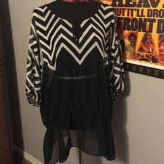 Sheer black and white top Sheer black and white top.  100% Polyester.  Elastic at waist and end of sleeves. Lane Bryant Tops Blouses