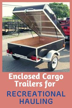 Cargo trailers are easy to maneuver by hand and because they are compact x they are easily positioned in parking lots and stored in home garages. Custom cargo trailers can come with single, double, or ramp rear doors, side cargo doors, and/or pop Small Trailers For Sale, Small Car Trailer, Utility Trailer Camper, Enclosed Car Trailer, Pop Up Trailer, Cargo Trailers, Camper Trailers, Campers, Rv Camping Tips