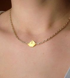 Tiny Paper Origami Sailboat Necklace | Jewelry Necklaces | STC Handmade | Scoutmob Shoppe | Product Detail
