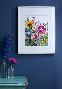 pretty print by Bluebellgray. Floral. Colours. Blue. Turquoise. Blue wall