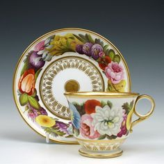 Hand painted Floral Coalport Porcelain Tea Cup and Saucer c1810