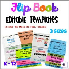 Foldable Flip Book Templates for Interactive Notebooks - You Customize and Add Your Own Content. Easy PowerPoint Files tell you exactly where to type your content. I have included three different sizes of Flip Book Templates to meet all your needs. Flip Book Template, Book Report Templates, Seating Chart Template, Powerpoint Format, Doodle Pages, First Day Of School Activities, Teacher Resources, School Resources, Thing 1