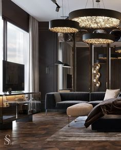 Living Room Designs, Living Room Decor, Modern Bedroom Design, Luxurious Bedrooms, Contemporary Interior, Interiores Design, Cheap Home Decor, Home Remodeling, Master Suite