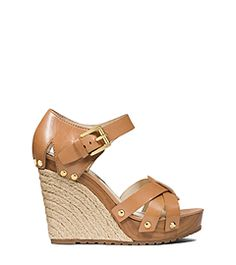 94558a806e2 Somerly Leather Espadrille Wedge by Michael Kors Michael Kors Wedge Sandals
