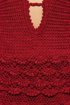 Strawberry Ohara Scarlet Crochet Dress - Vanessa M Crochet Art, Love Crochet, Crochet For Kids, Crochet Stitches, Crochet Patterns, Vanessa Montoro, Crochet Skirts, Crochet Blouse, Crochet Clothes