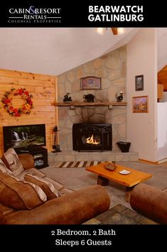 Plan your mountain getaway to Bearwatch! This spacious Gatlinburg Tennessee cabin has a pool table, hot tub, fireplace, jetted tub and much more!