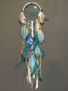 Indigo Magic Dream Catcher with hand painted by CosmicAmerican Boho Dream Catchers Dreams Catcher, Los Dreamcatchers, Deco Pastel, Diy And Crafts, Arts And Crafts, Idee Diy, Suncatchers, Wind Chimes, Craft Projects
