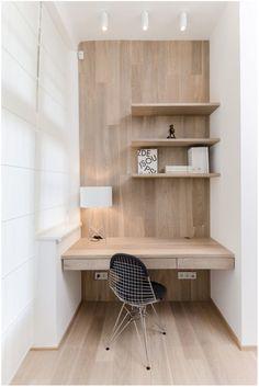 Simple wood office nook desk nook, home office decor, office nook. Desk Nook, Office Nook, Desk Space, Study Office, Workspace Desk, Small Workspace, Wall Desk, Desk Chair, Window Desk