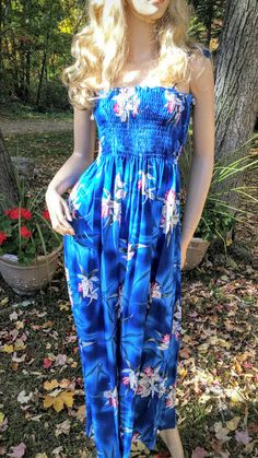 Midnight Blue Tropical Orchid Hawaiin Long Tube by FashNerds