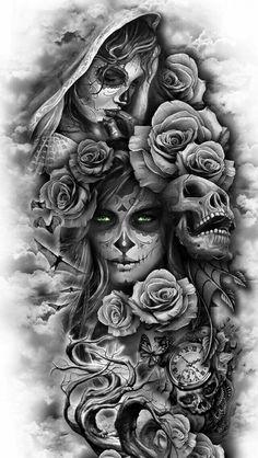 covering tattoo for men, covering tattoo models, realistic covering tattoo, realist tattoo tattoo ideas for men Skull Girl Tattoo, Skull Sleeve Tattoos, Leg Tattoo Men, Tattoo Sleeve Designs, Arm Tattoos For Guys, Trendy Tattoos, Forearm Tattoos, Tattoo Designs Men, Body Art Tattoos