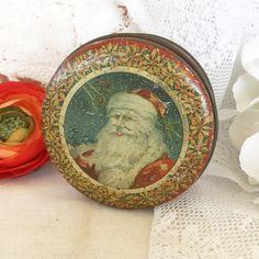 Rare Antique Santa Claus Christmas Decorative Tin litho box Father Christmas decorations red round Tindeco decor by WonderCabinetArts