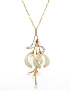 Art Nouveau Enamel, Freshwater Pearl and Diamond Pendant Necklace An Art Nouveau 18 karat gold necklace with enamel flower petals and freshwater pearls accented with 13 rose cut diamonds suspended from a gold and pearl chain. Circa: 1900. | ©2015 Macklowe Gallery.