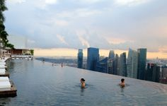 Located on the 57th floor of the Marina Bay Sands Hotel, the pool offers breath-taking views of the Singapore skyline.