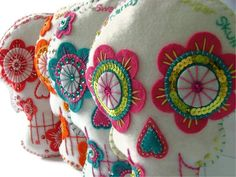 Embroidered Sugar Skull Day of the Dead by TheDollCityRocker