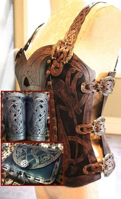 Leather armor corset, bracers AND pouch! Viking design- celtic dragon cut-out design in heavy duty leather. Viking Costume, Steampunk Costume, Mori Girl, Fantasy Costumes, Cosplay Costumes, Fantasy Armor, Medieval Fantasy, Leather Bracers, Female Armor