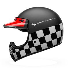 CLASSIC OFF-ROADING INSPIRED HELMET WITH ECE RATING The Bell Moto 3 in Fasthouse Checkers is one of the most recognizable and iconic helmets in the history of motorcycling. When it first was launched almost 50 years ago, it brought to the stage protection far beyond any prior helmets, looked like nothing else on earth, and was immediately adopted by the sport's most legendary racers. To this day it remains a highly sought after collectible, with battered old warriors regularly commanding insane Motorcycle Helmets For Sale, Motocross Helmets, Shark Helmets, Agv Helmets, Red Motorcycle, Bike Helmets, Casque Bell, Bell Moto 3, Harley Davidson