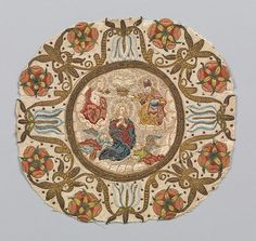 Medallion, Italian, silk on linen, 16th century. My guess is that this medallion was once appliquéd to a wall hanging, or other decorative medium. It was cut off to preserve the much smaller embroidery piece and toss the rest of the textile.
