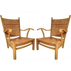 Nice combination of masculine and feminine qualities.  Oak Armchairs with Rush Seats and Backs by Mart Stam
