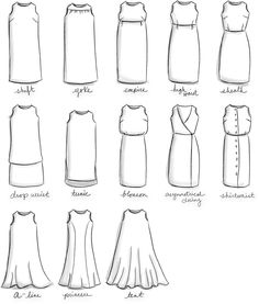 Guide naming dress styles. Guide to knowing the difference between a sheath and a shift