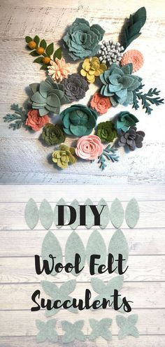 DIY Wool Felt Succulents and Felt Flowers! These are fun to make and perfect for decorating hats and headbands, garlands, vertical gardens, and wreaths...#affiliate #crafting #diyproject