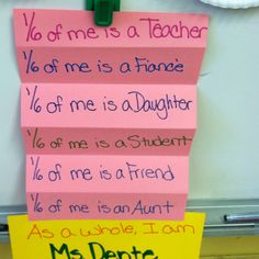 """FRACTION LESSON~  """"As a Whole I Am"""" fraction project is a great way to introduce fractions!  (picture only)"""