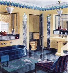 Designers makers of Art Deco original period bathrooms & Bathroom Design Casa Art Deco, Art Deco Home, Bathroom Light Fixtures, Plumbing Fixtures, Plumbing Pipe, Art Deco Bathroom, Vintage Interiors, Deco Interiors, Vintage Bathrooms