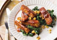Glazed Maple-Mustard Tempeh Strips with Collards