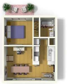 Tiny Apartment Floor Plans 3d one bedroom small house floor plans for single man or woman are