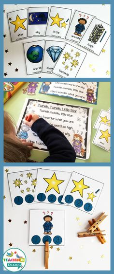 Twinkle, Twinkle, Little Star Nursery Rhyme Activities for Kids! This set has everything you need to teach vocabulary, sequencing, rhyme & more! Sequencing Activities, Kindergarten Activities, Preschool Activities, Preschool Projects, Speech Activities, English Activities, Children Activities, Nursery Rhymes Preschool, Nursery Rhyme Theme