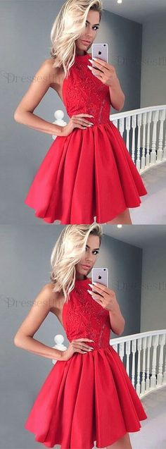 fashion party dresses, red halter homecoming dresses, short semi formal dresses.