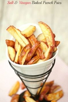 The kids devoured these! Salt & Vinegar Baked French Fries Low Calorie, Low Fat Healthy Side Dish Recipe perfect for dinner.  Vegetarian or serve it with chicken for a fabulous meal
