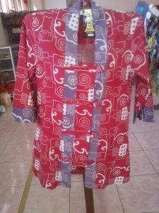 Jual Blus Batik Merah A | Toko Online Batik Kendal | Jual Batik Berkualitas | Toko Batik