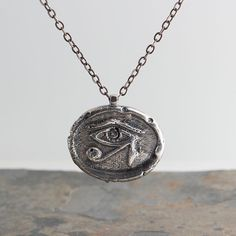 Eye of Horus,Stamped Charm,Silver Necklace,Wax Seal Stamp,Silver Pendant,Handmade Necklace,Handmade Pendant,Statement Necklace,Gift for her by FutureArtJewelry on Etsy