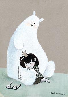 girl with bear illustration Art And Illustration, Illustrations And Posters, Fuchs Illustration, Friends Illustration, Bear Pictures, Cute Pictures, Cute Bear, Bear Art, Friend Tattoos