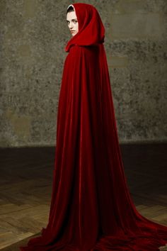 """Merlin Katie McGrath as """"Morgana"""" Medieval Dress, Medieval Clothing, Photo Portrait, Katie Mcgrath, Red Riding Hood, Cloak, Lady In Red, Dress Up, Poses"""