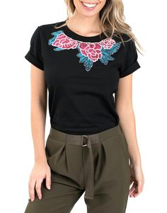 a61c42126a6128 Buy Black floral embroidered tee - Maybe Wang