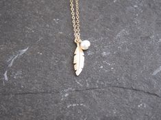 Gift idea for her, Great for layering with other necklaces or minimalist wear, All components are Gold filled, Available in different sizes. Pearl Necklace, Pendant Necklace, Gold Feathers, Feather Necklaces, Jewelries, Fill, Fashion Jewelry, Minimalist, Pearls
