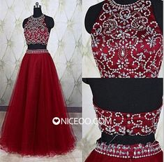 Maroon Two Piece Round Neck Floor Length Tulle prom dresses with Beaded