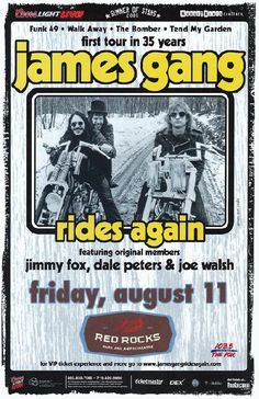 Concert poster for The James Gang at Red Rocks in Morrison CO in 11 x 17 inches on card stock. Rock Posters, Band Posters, Music Posters, Event Posters, Rock Hall Of Fame, Vintage Concert Posters, Poster Photography, Psychedelic Music, Old Music