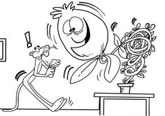 Pink Panther And Giant Plant Coloring Pages Pink Panthers, Online Coloring, Coloring Pages For Kids, More Pictures, Plant, Quote Coloring Pages, Disney Designs, Cute Good Morning Pictures, Free Coloring Pages