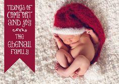 Tidings of Comfort and Joy - Digital Printable Newborn Christmas Photo Card by invitationsandbeyond, $12.00