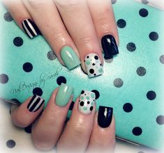 Polka dot and mint nail art