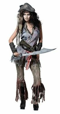 """Ship Wreck Sally Female Pirate Costume - Spooky, yet sultry is this girl's motto.  This high quality, feisty phantom ensemble includes a well-worn and faded-looking violet-blue sleeveless dress-top with a stylish """"torn"""" fringe hem, matching faded striped-grey pants with long torn fringe, two belts, a """"stained"""" khaki scarf, black fabric armband, boot covers, and a small black barbosa hat with pirate insignia. Whether you're feeling sexy or dangerous, you'll be set!  GET YOUR LOWEST PRICE…"""