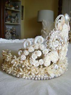 Bridal Tiara Crown Georgian Seed Pearl Style Antique MOP Seashells Wax Flowers | eBay
